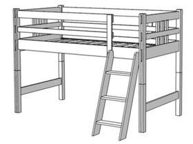 Кровать-чердак, высота 122 см (80 см до матраса), ноги составные