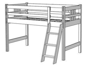 Кровать-чердак, высота 122 см (80 см до матраса), ноги цельные