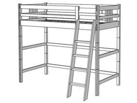 Кровать-чердак, высота 173/193 см, ноги составные, лестница наклонная