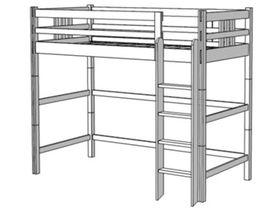 Кровать-чердак, высота 173/193 см, ноги составные