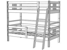 Кровать 2-х ярусная, высота 173/193 см лестница с наклоном