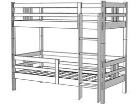 Кровать 2-х ярусная, высота 173/193 лестница прямая
