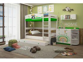 """Двухъярусная кровать для детей 180 см из массива бука """"Азия"""""""