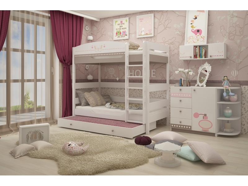 """Двухъярусная кровать 180 см в из массива бука в комнату для девочек """"Mon coure"""""""