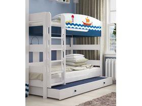 """Двухъярусная кровать в детскую 160 см из массива бука """"Морская"""""""