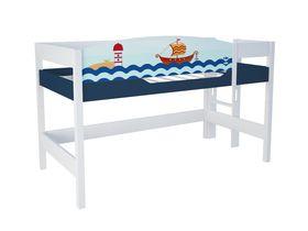 """Кровать чердак 120 см и лестницей с торца """"Морская"""""""