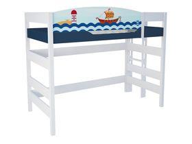 """Кровать чердак 160 см и лестницей с торца """"Морская"""""""