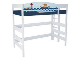 """Кровать чердак 180 см и лестницей с торца """"Морская"""""""