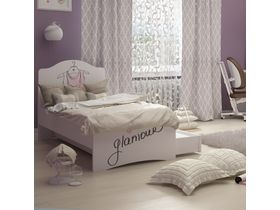 """Кровать c фигурным изголовьем в комнату для девочки из коллекции """"Парижанка"""""""