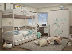 """Тематическая комната для двоих девочек с кроватями из массива бука """"Парижанка"""""""