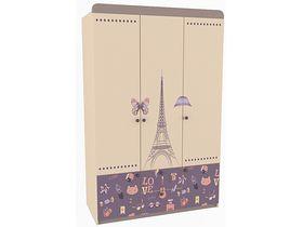 """Детский трехдверный шкаф в комнату девочки из коллекции """"Париж"""""""