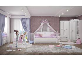 """Комната для девочки """"Plessi classic"""" c патинированными резными фасадами и рисунками"""