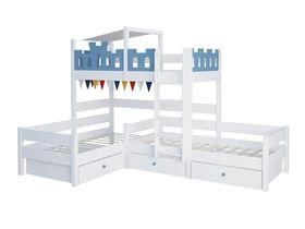 """Детская двухъярусная кровать для троих детей """"Замок"""" из массива бука"""