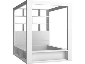 Двуспальная кровать под матрас 160*200 см, с ящиком для белья и стеллажом в изголовье + подъемная решетка в комплекте