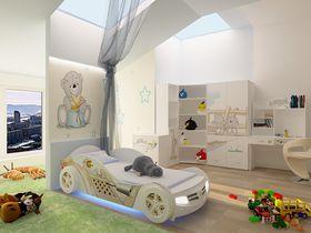 """Детская комната """"Мишки"""" с кроватью машиной в белом цвете"""