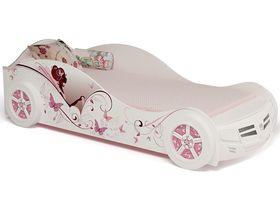 """Кровать машина для девочки """"Фея"""" в белом цвете с розовыми принтами с подсветкой"""