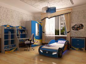 """Детская комната """"Champion Синяя"""" с кроватью машиной"""