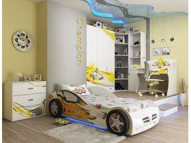 """Детская комната """"Champion Белая"""" с кроватью машиной"""