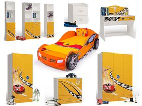 """Детская комната для мальчика """"Формула оранжевая"""" с кроватью машиной"""
