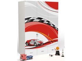 """Детский шкаф 3-дверный с выдвижными ящиками без зеркала из коллекции """"La-Man красная"""""""