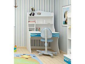 """Детский стол для школьника с надстройкой в морском стиле """"Океан"""""""