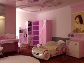 """Детская комната """"Princess"""" с кроватью машиной для девочек"""