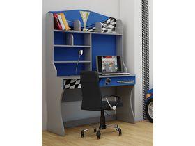 """Детский стол для школьника с надстройкой в синем цвете """"Формула синяя"""""""