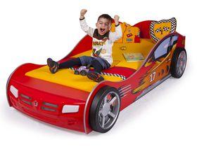 """Кровать машина в красном цвете """"Чемпион"""" для маленьких гонщиков с пластиковыми колесами"""