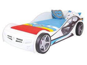 """Детская кровать машина """"La-Man"""" в белом цвете с фарами и подсветкой дна"""
