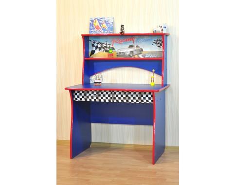"""Детский стол для школьника с надстройкой в синем цвете """"Ралли"""""""