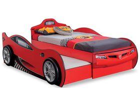 """Кровать-машина """"Race"""" с выдвижной кроватью под матрас 90х190/90x180 см в красном цвете"""