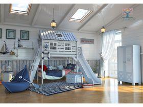 """Коллекция мебели для мальчиков """"Белый кит"""" в морском стиле  из массива сосны"""