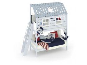 """Двухъярусная кровать в виде домика с ломаной крышей """"Белый кит"""" с ручной росписью из массива сосны"""