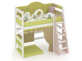 """Детская кровать- чердак высокая с игровой зоной из массива """"Совы"""""""