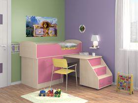 """Детская кровать-чердак """"Дюймовочка"""" с рабочей зоной в розовом цвете"""