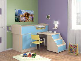 """Детская кровать-чердак """"Дюймовочка"""" с рабочей зоной в голубом цвете"""