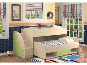 Низкая детская двухъярусная кровать Дюймовочка (Вариант с зелеными фасадами)