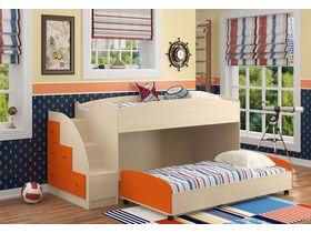 Низкая детская двухъярусная кровать Дюймовочка (Вариант 2)