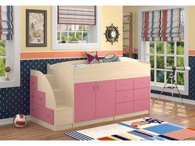 """Детская кровать-чердак """"Дюймовочка"""" с ящиками и шкафом в розовом цвете"""