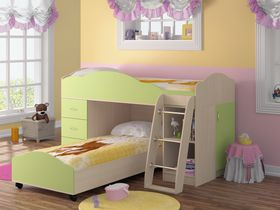 """Угловая детская двухъярусная кровать """"Анастасия"""" со встроенным комодом"""