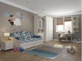 """Детская комната в классическом стиле """"Соня"""" с кроватью диваном с мягкой спинкой"""