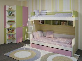 """Детская стенка для девочек """"Солнечный город"""" с двухъярусной кроватью"""
