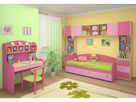 """Детская стенка в комнату девочки """"Мия"""" с розовыми фасадами"""