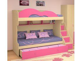 """Детская двухъярусная кровать для девочек """"МИА"""" с фасадами розового цвета"""