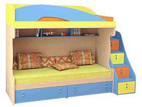 Кровать двухъярусная со ступенями-тумбой 200х90