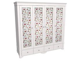 """Белый 4-х дверный шкаф 206см со стеклянными дверями Бейли из коллекции """"Бейли"""""""