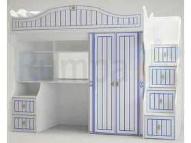 """Детская кровать-чердак со шкафом """"КАПИТАН"""""""