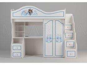 """Детская кровать-чердак  со столом и шкафом для мальчика в тематическом стиле """"Пират"""""""