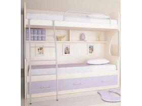 """Детская двухъярусная кровать """"Макс"""" с 3 ящиками с сереневыми фасадами"""