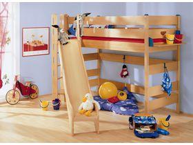 Детская игровая кровать с горкой-башней Varietta высотой 155см из массива бука